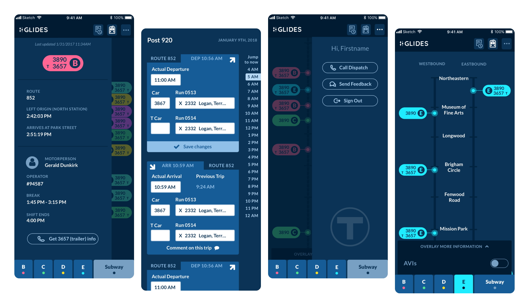 Four screens from the finished application; a screen showing a single train, a srcreen showing arrivals and departures, a screen showing call information, a screen showing a single train and it's stops