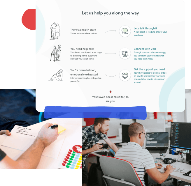 Collage of three photos: the first is a screenshot of our work for Senior Link; the second is a designer making notes during a product design sprint;  the third is a photo of two developers pair-programming.