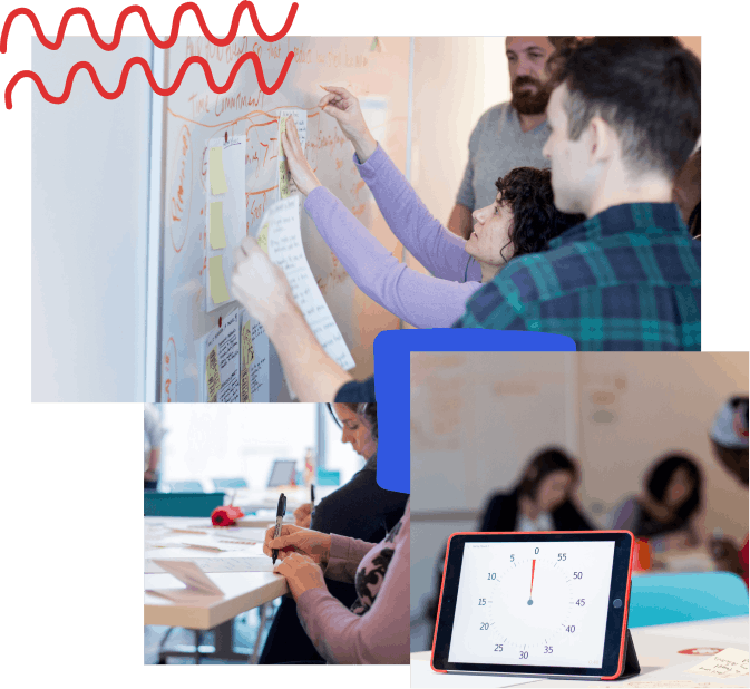 A collage of photos with hand-drawn elements; from top left, a group of people pinning up their storyboards from a design sprint, a close up of someone drawing with a sharpie during a design sprint, an iPad with a timer on it and people working in the background