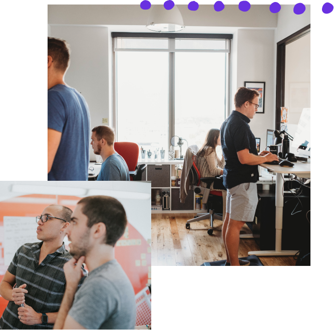 Collage of two photos: the first is of four thoughtbot teammates working on computers at their desks; the other shows a thoughtbot designer and a developer critiquing something