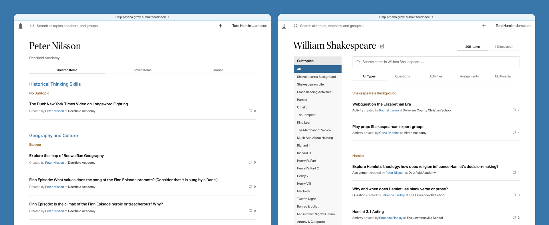 Two screenshots of the Athena application; the first is a user profile screen, the second a topic screen about William Shakespeare.