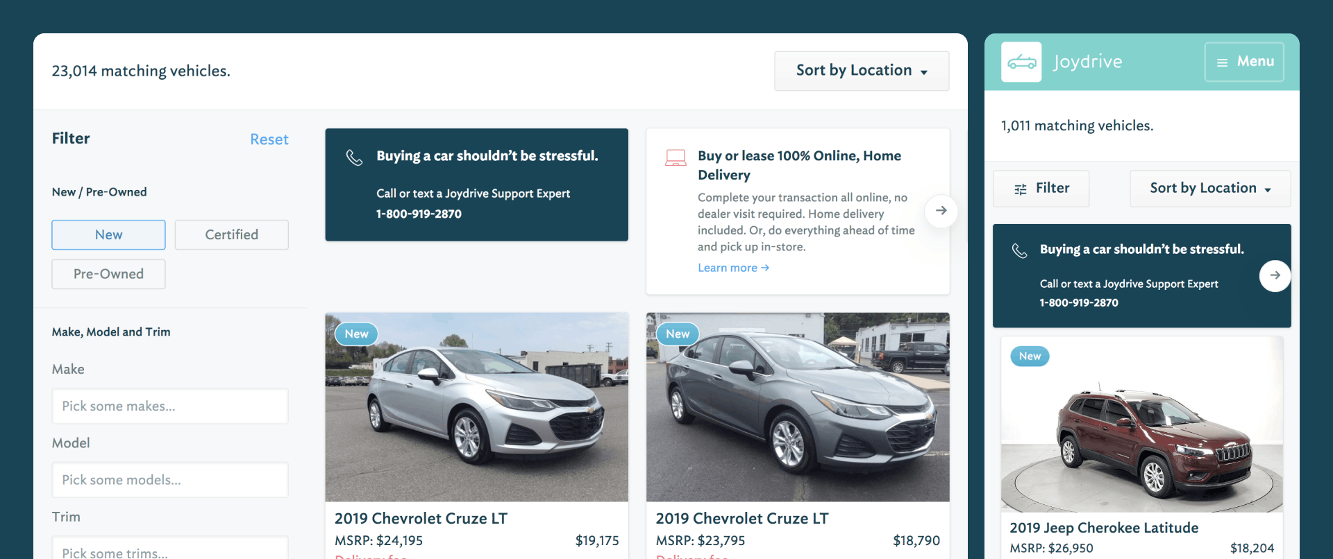 Two screenshots of the search interface for a new car, one at tablet size and one at mobile size
