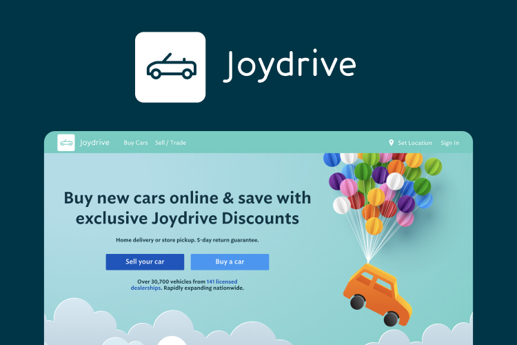 Screenshot of the Joydrive website with the text, buy new cars online & save with exclusive Joydrive discounts