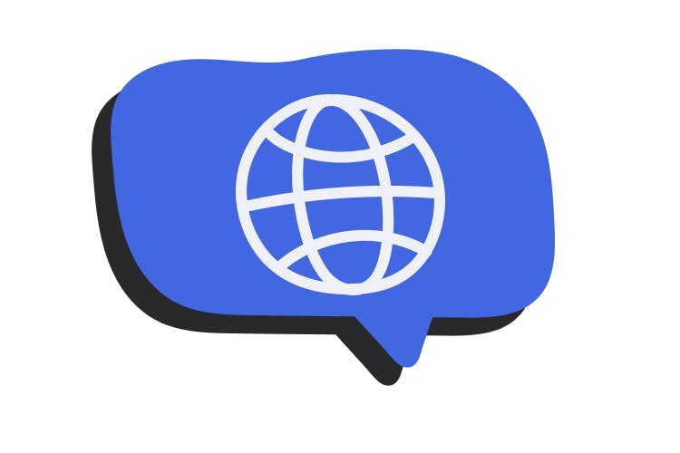 An illustration of a blue speech bubble with a world line drawing in the center of it.
