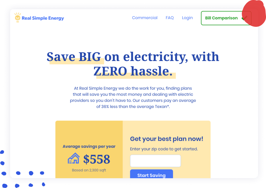 A screenshot of the Real Simple Energy homepage.