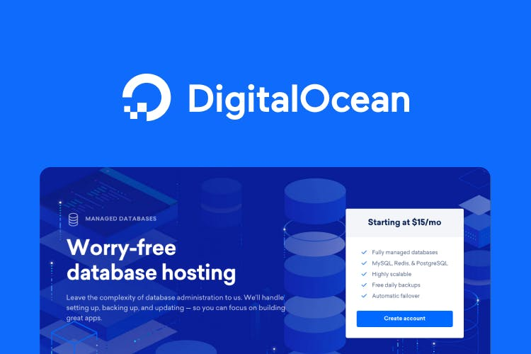 The DigitalOcean logo placed above a screenshot of their homepage. The homepage promises, 'Worry-free database-hosting'.