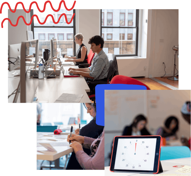 A collage of photos with hand-drawn elements; from top left, two developers sitting at their desk with two large windows behind them, a close up of someone drawing with a sharpie during a design sprint, an iPad with a timer on it and people working in the background