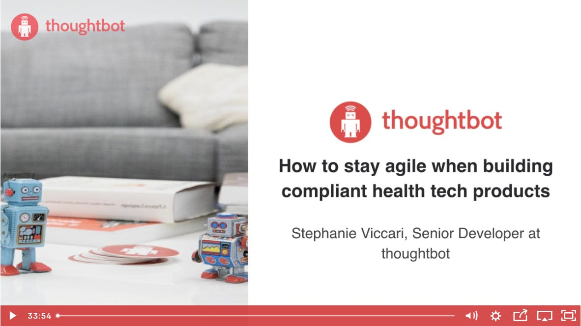 Screenshot of a slide; slide text: How to stay agile when building compliant health tech products