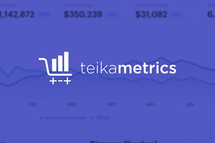 The Teikametrics logo placed over a cropped screenshot of a graph tracking pricing.