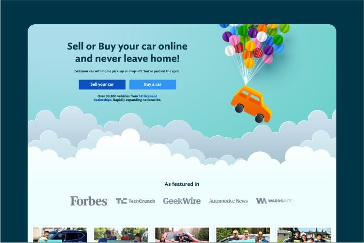 The Joydrive homepage, featuring an illustrated car being lifted by some party balloons.