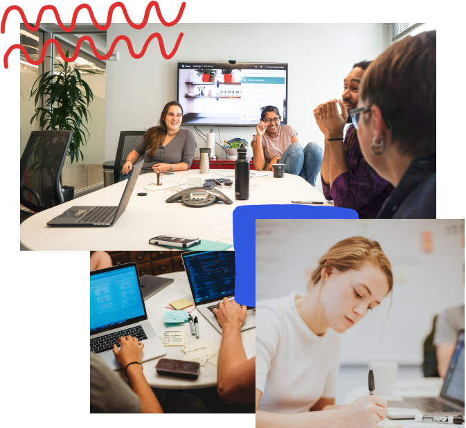 Collage of three photos: the first is of four thoughtbot team members laughing with each other in a meeting room; the second shows two laptops with post-it notes spread around the table; the third is of a designer focused on sketching on a piece of paper