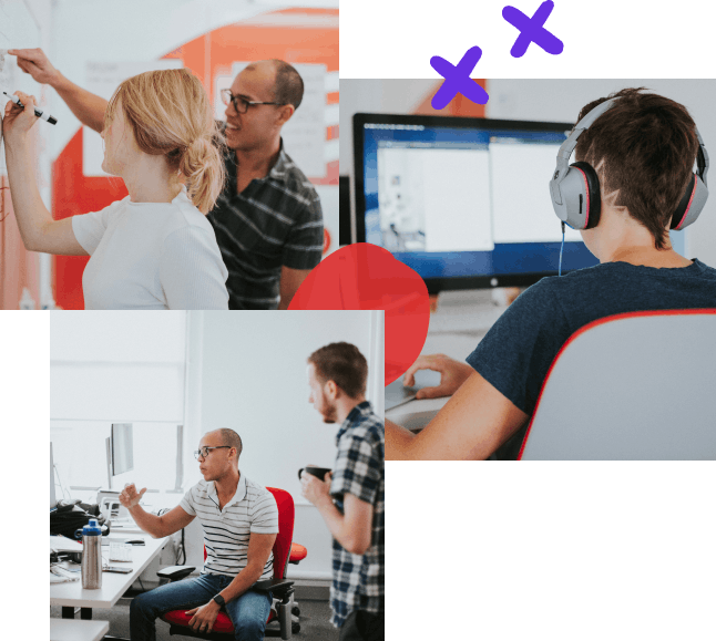 Photo collage of three images and hand-drawn elements clockwise from top left to bottom left; designer and developer collaborating at whiteboard, a designer working at their desk, two developers discussing code on a project
