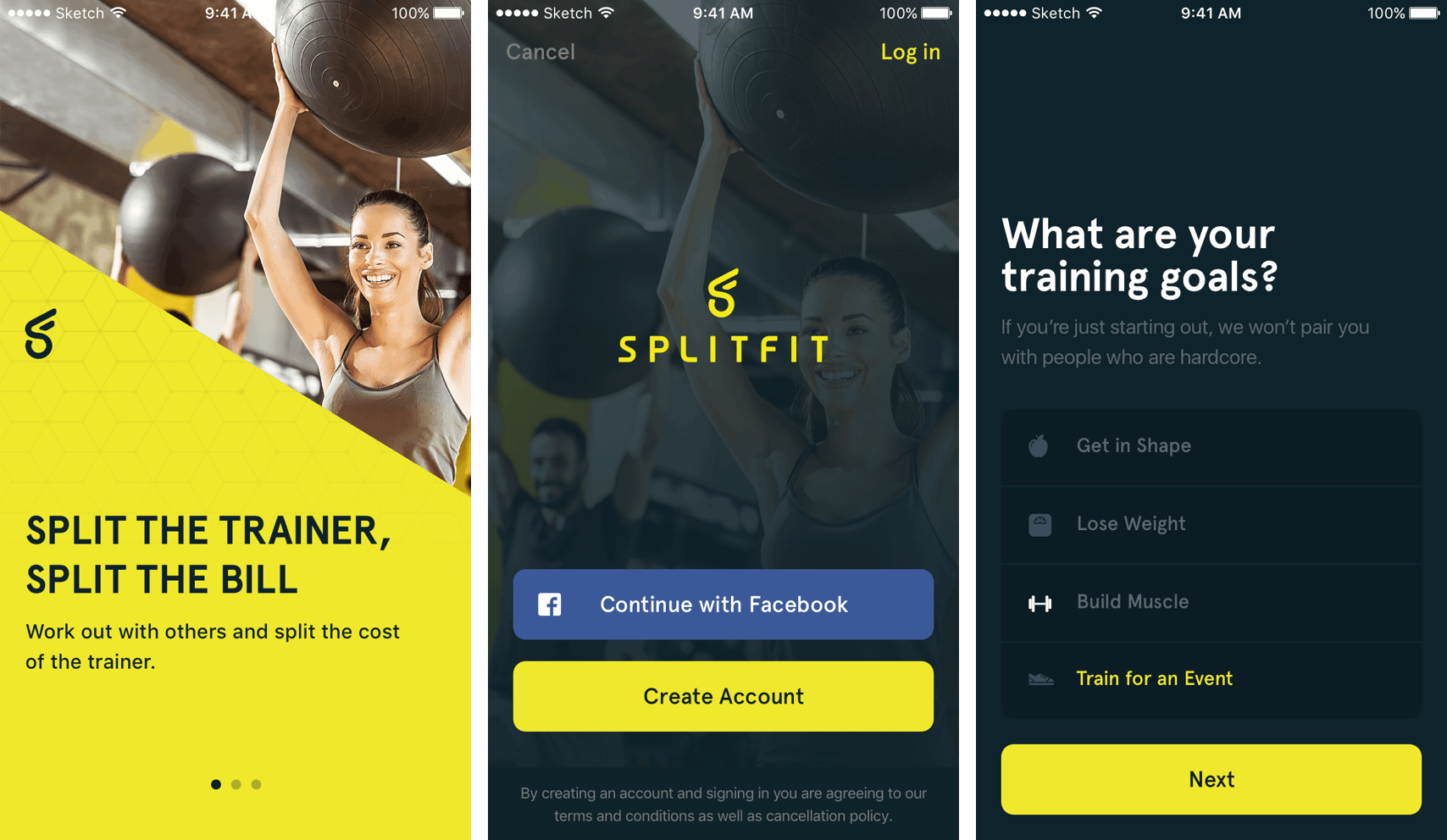 A variety of SplitFit app screens