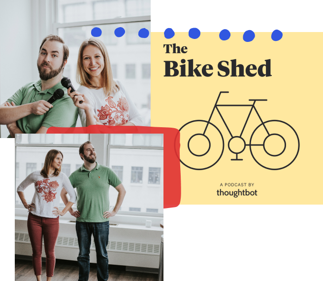 The words 'The Bike Shed' are spelled out above an illustrated bicycle, while the shape of a house fills the background.