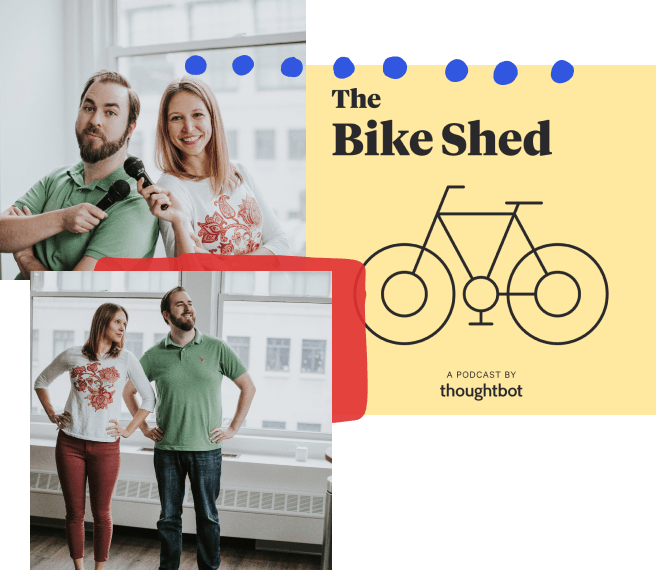 A collage of photos with hand-drawn elements; from top left, two people smiling while holding microphones over their shoulder, the Bike Shed logo, two people standing next to each other while looking off camera and holding their hands at their hips.