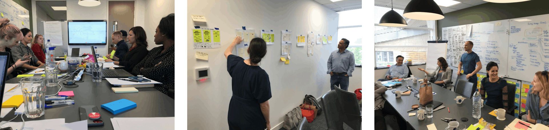 Three photographs of the Ieso Health product design sprint