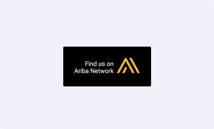 Logo image for Find us on Ariba on a light blue background