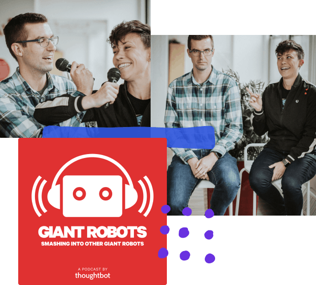A collage of photos with hand-drawn elements; from top left, two people smiling while crossing arms and holding microphones, two people sitting next to each other, one is unamused while the other is pointing and smiling slightly, a logo for the giant robots podcast.