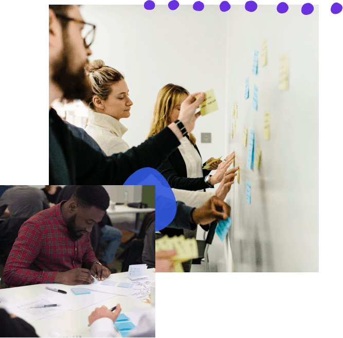 A collage of photos with hand-drawn elements; from top left, a group of people organizing post-its on a wall, a designer working at a conference table putting post-its on paper to create the frame for a storyboard