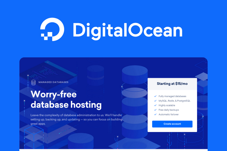Screenshot of the DigitalOcean website with the text, worry-free database hosting