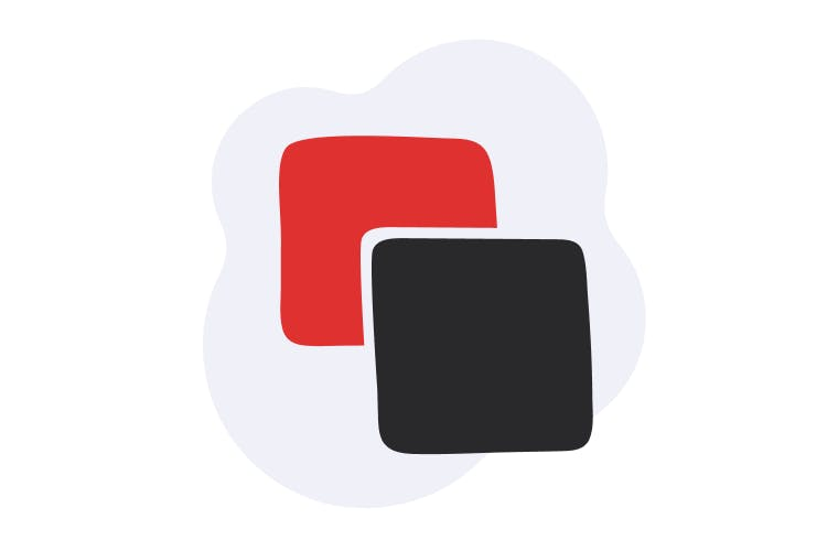 An illustration of two squares against a blob-like background; one square is red, the other is black, and the blob is a gray color.