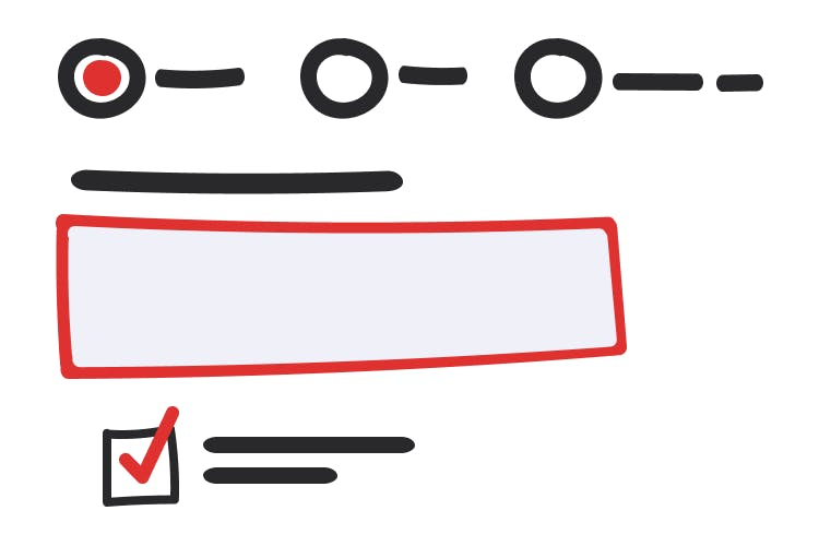 An abstract illustration of a form; the top has three radio buttons, one which is selected; the middle has an input with a label on top; the bottom has a checked checkbox with a label next to it