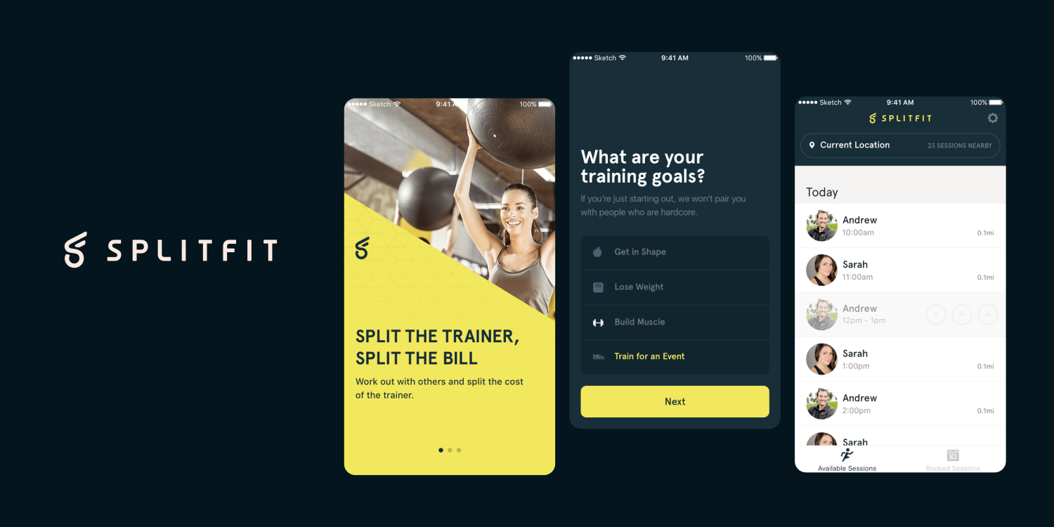 Three screenshots of the SplitFit mobile application