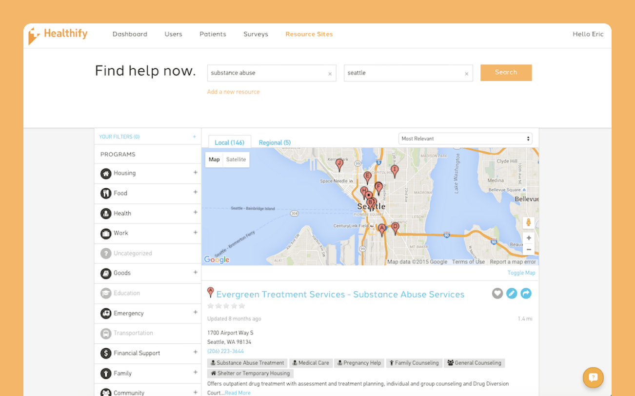 A screenshot of the Find Help Now page on Healthify