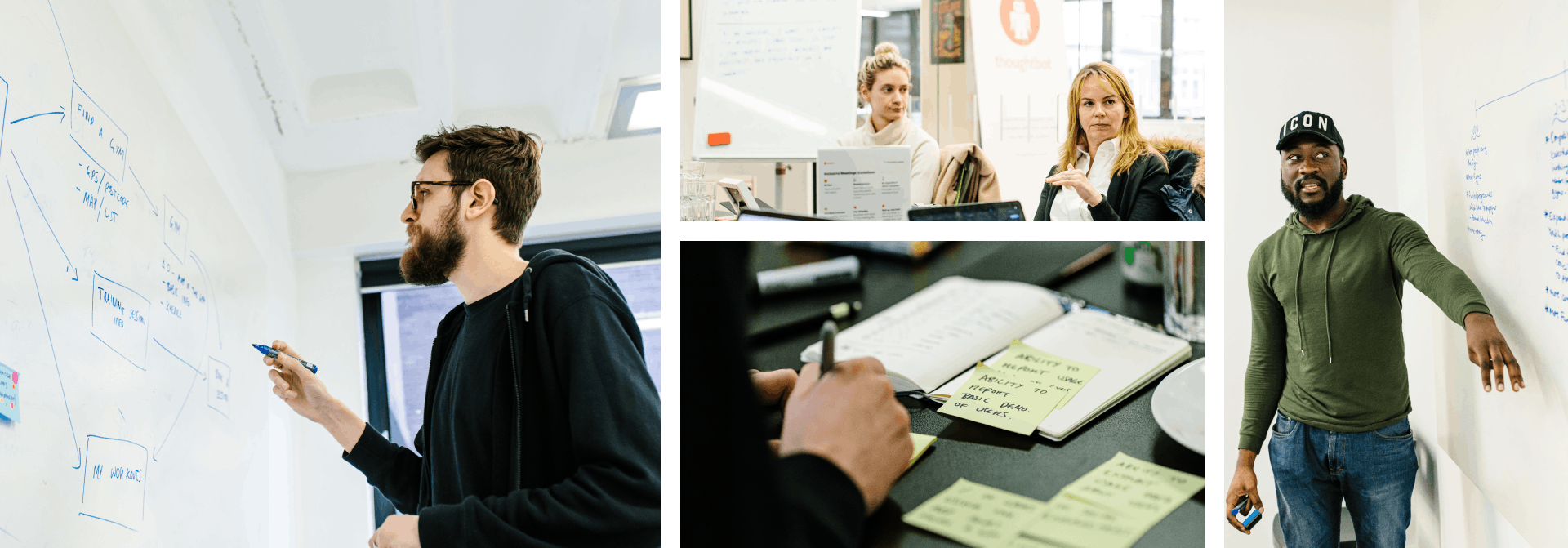 Four photos of the Steel Warriors workshop; a designer drawing on a whiteboard, two people at a meeting room table, someone writing on a post-it, a designer looking and pointing at a whiteboard