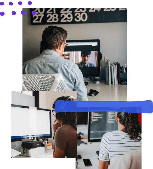 Collage of three photos: a person on a video conference all with two other people; the second is a person at the computer resting their head on their fist; the third is an over the shoulder look at a developer working at their desk