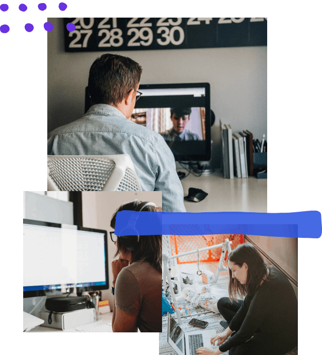 Collage of three photos: a person on a video conference all with two other people; the second is a person at the computer resting their head on their fist; the third is a designer working alongside a baby