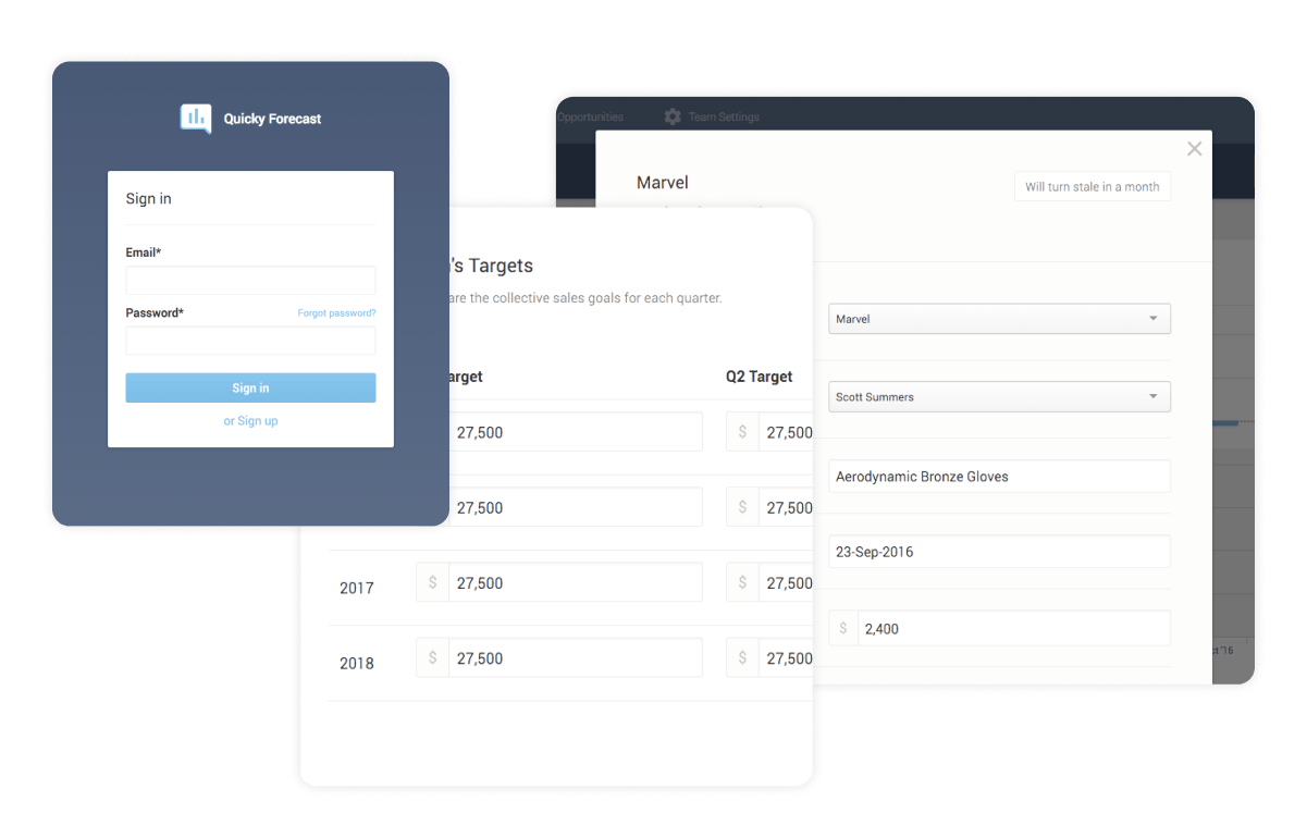 Three screenshots of user interface elements from the Quicky site; the first is a sign in screen, the second is a form to set your team's targets, the third is another input form
