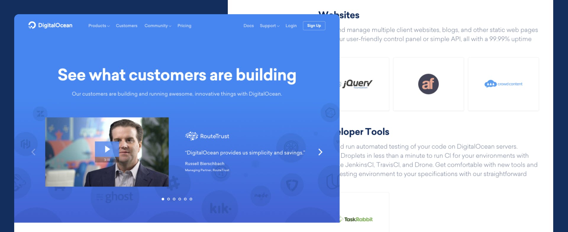 two parts of a DigitalOcean page; the hero and two sections with logos