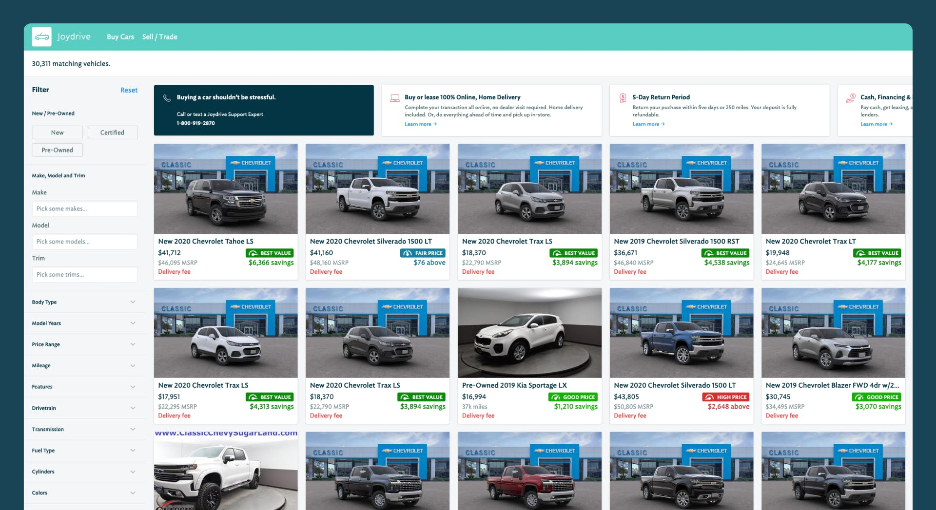 A screenshot of the Joydrive searching for cars interface showing a sidebar with filters and a grid view of cars