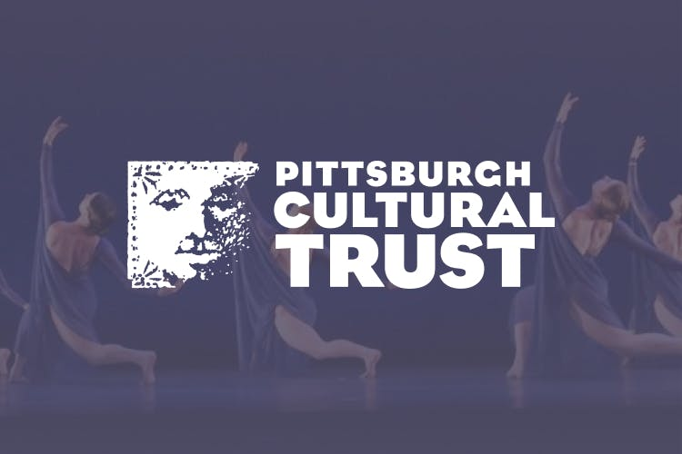 The Pittsburg Cultural Trust logo placed over a background of ballet dancers.