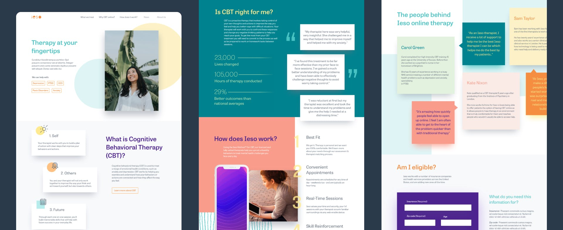 Three parts of the Ieso homepage design
