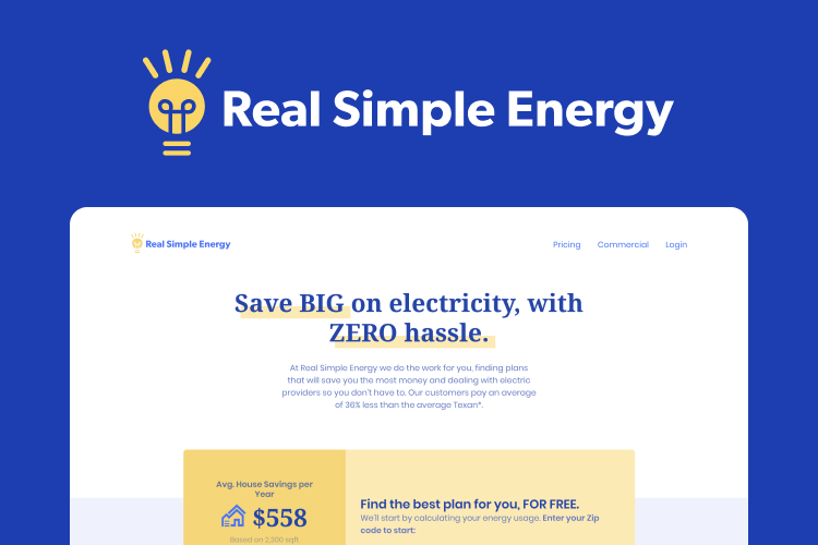 Screenshot of the Real Simple Energy website with the text, save big on electricity, with zero hassle