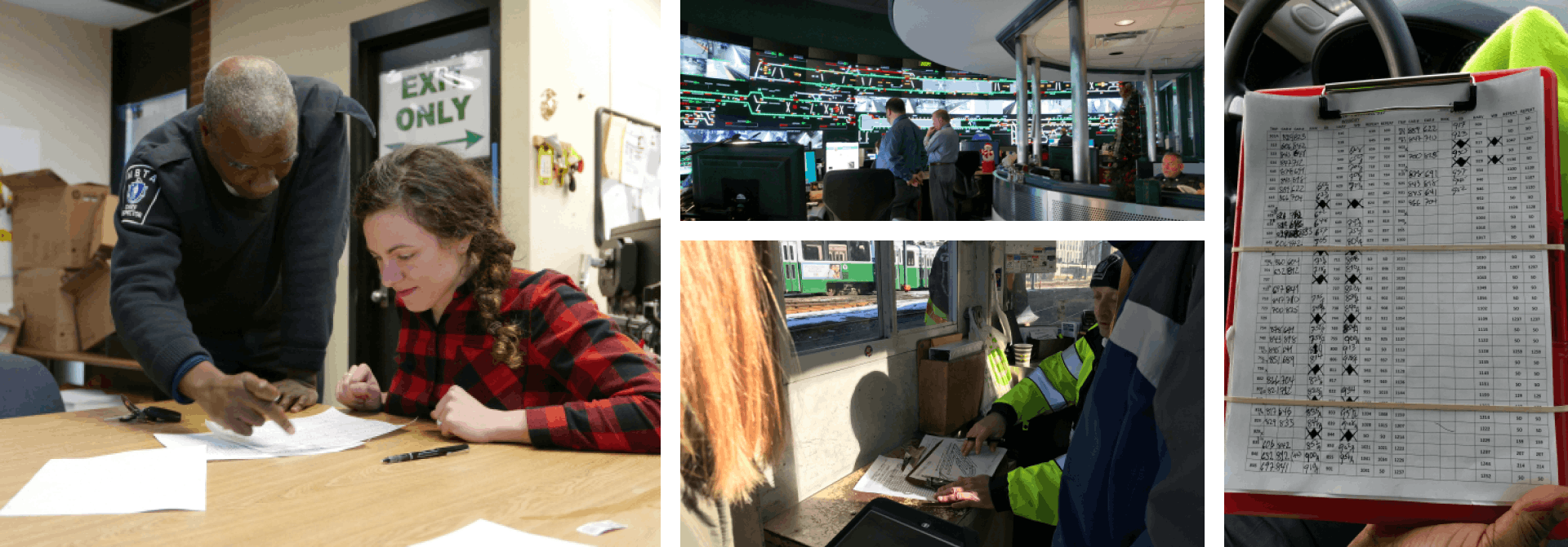 Four photographs of the research conducted; A designer sits down as a MBTA official describes a paper form on a table, the MBTA command room with wrap around screens; a Green Line conductor explaining a form, a paper form from the MBTA attached to a clipboard