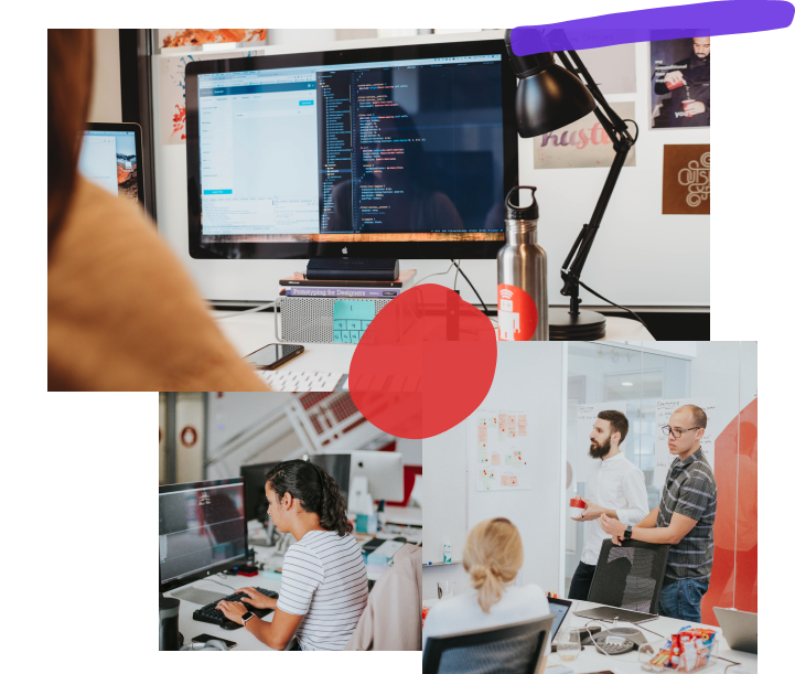 Collage of three photos: the first is taken from over the shoulder of a developer working on test-driven code while posters line the wall behind their monitor; the second is a developer working diligently at their desk; the third is three people in a conference room talking while gesturing towards a white-board covered in post-its and writing.