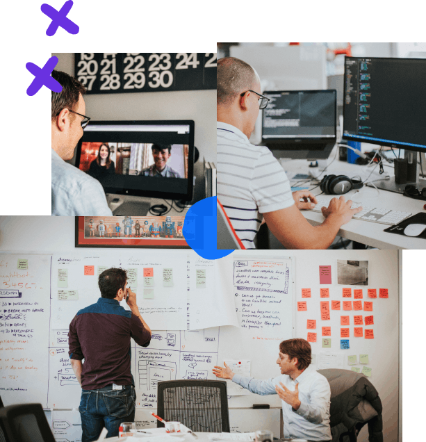 Photo collage with handdrawn elements; starting from the top left, a designer on a conference call, a developer working on an application at their desk, a designer and client discussing options during a design sprint in front of a wall of post-its and sketches