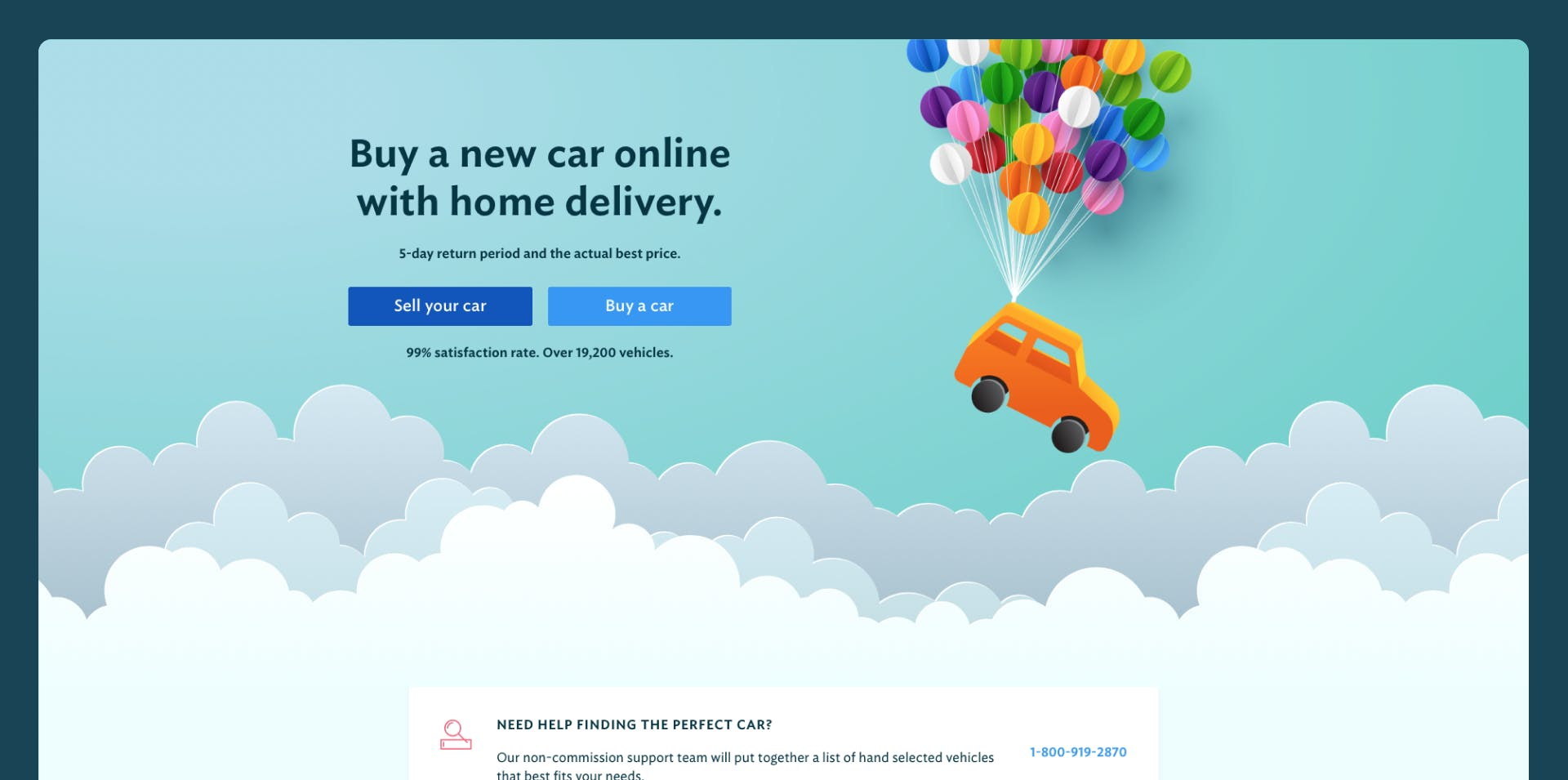 A screenshot of the Joydrive homepage hero
