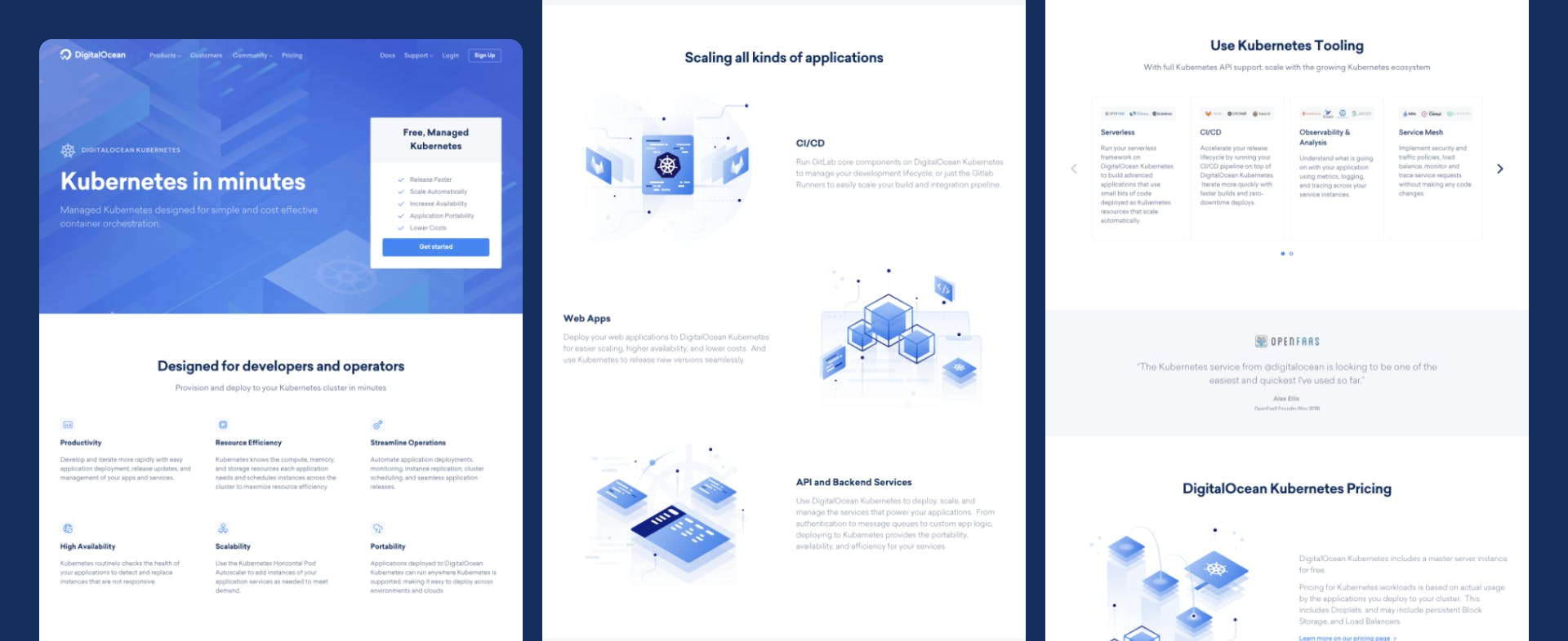 Three parts of a Digital Ocean page; hero, text and image sections, snippets section