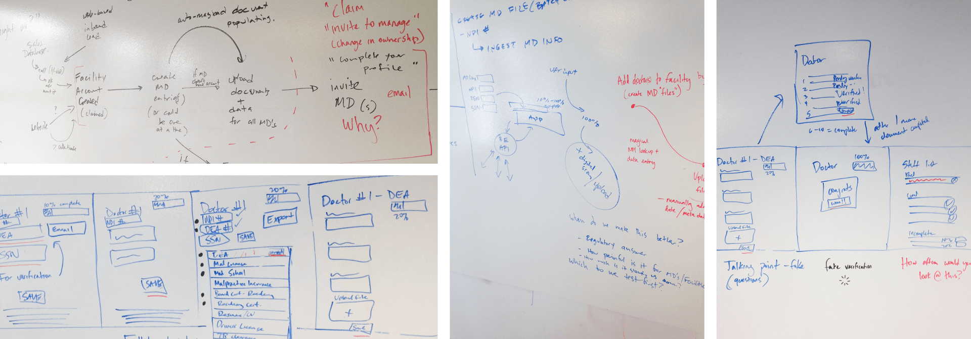 4 images of writing on a whiteboard from the Silversheet design sprint