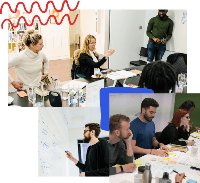 A collage of photos with hand-drawn elements; from top left, four people at a conference room, one person talking and one at the whiteboard, a designer drawing in blue marker on a whiteboard, a group of people at a table with sharpie sketches and post-its in-front of them