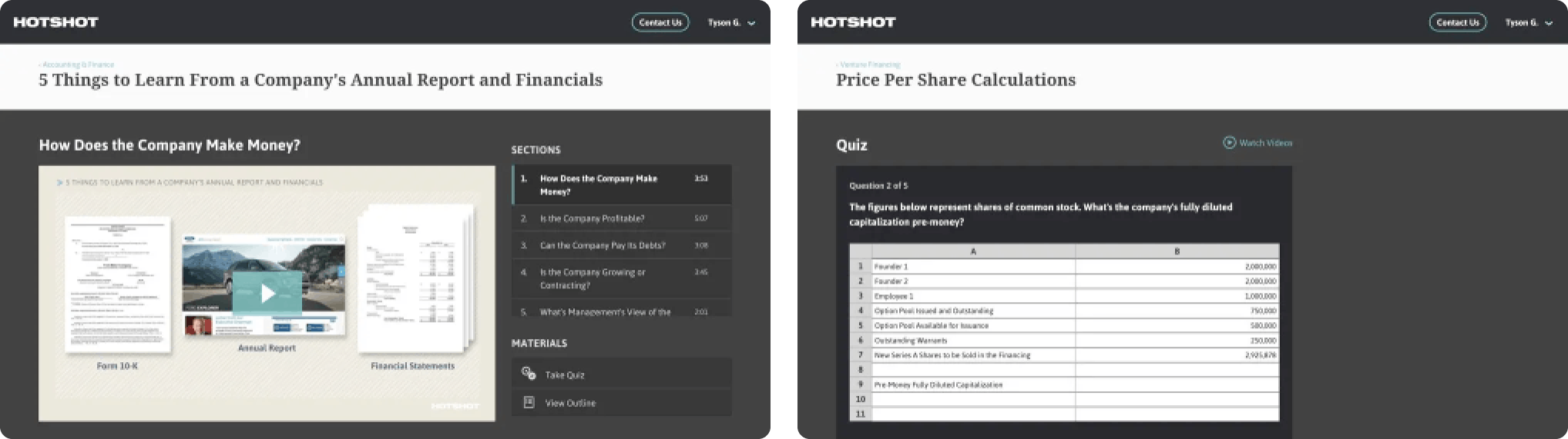 Two application screens from the hotshot project of their learning interface