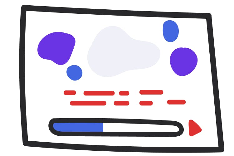 An abstract illustration of a video player; there are various colored shapes; below that are lines representing closed captions; at the bottom is a progress meter showing the video is about 1/3 of the way played.