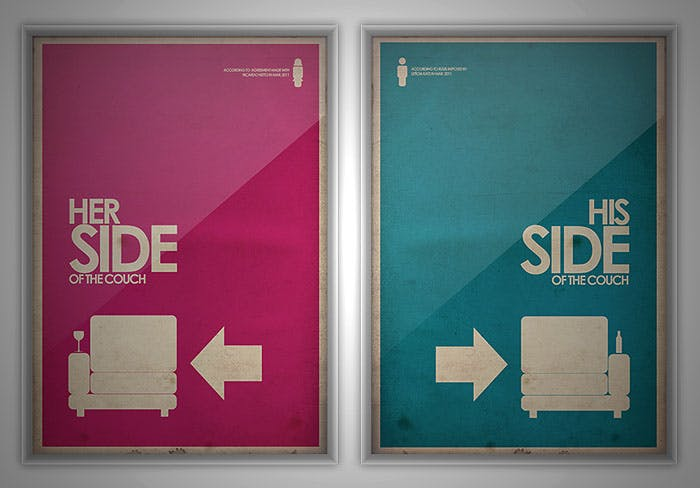 """pink and blue signs reading """"his side"""" and """"her side"""""""