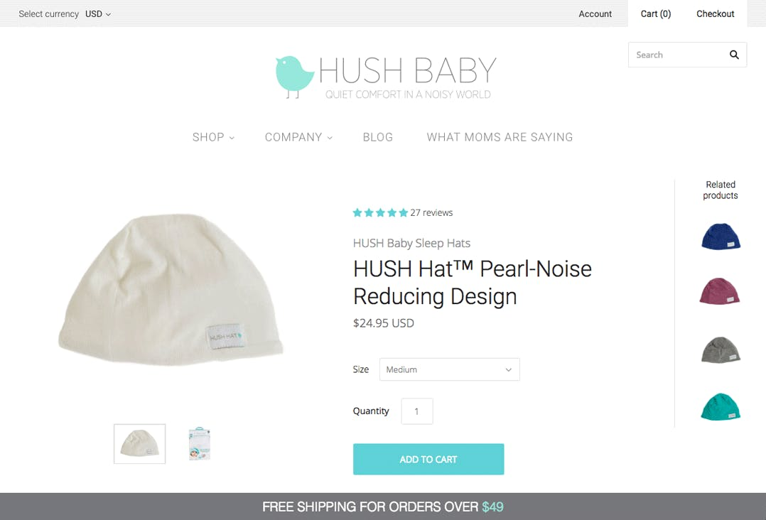 hush hush baby pearl-noise reducing cap product page