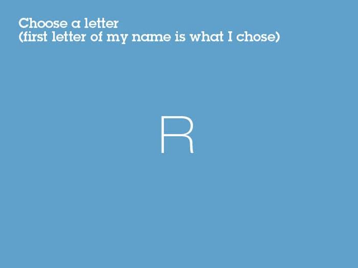 letter R on blue background