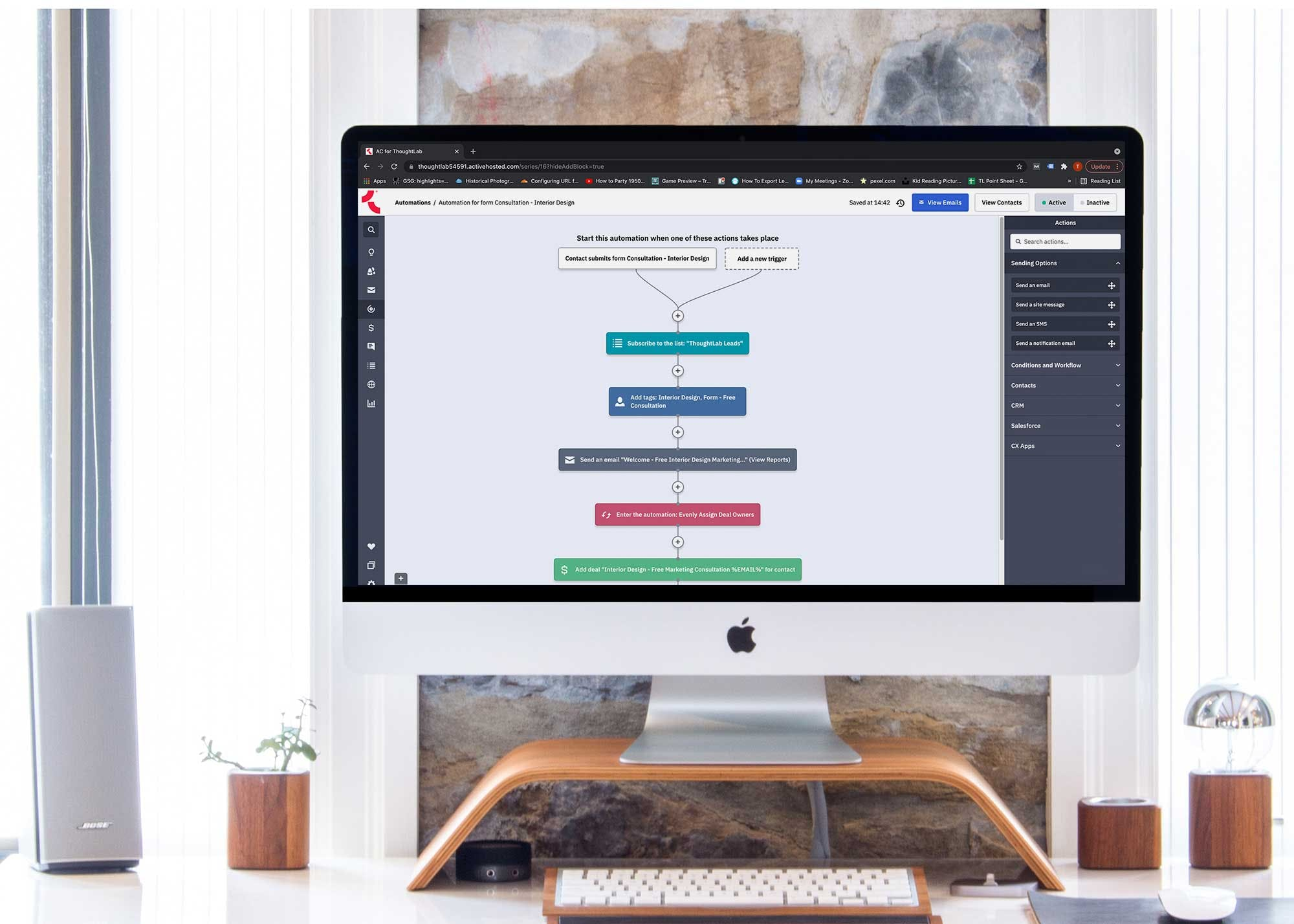 Computer showing an interior design marketing automation